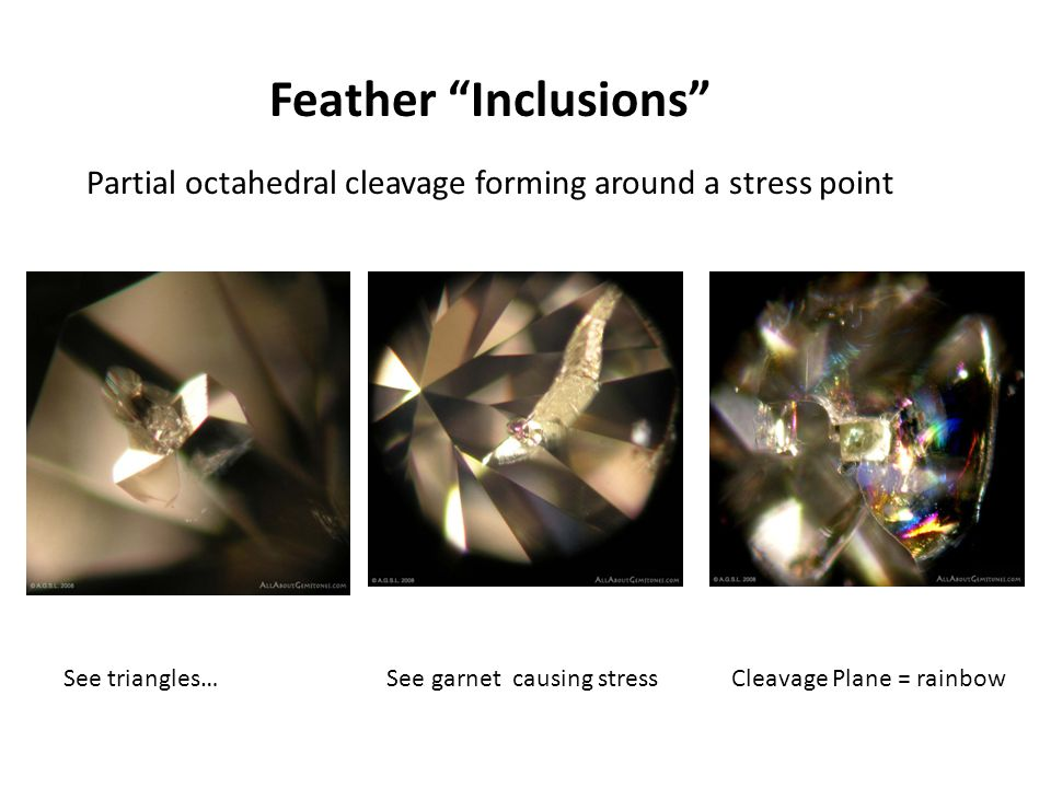 """Feather """"Inclusions"""" Partial octahedral cleavage forming around a stress point See triangles… See garnet causing stress Cleavage Plane = rainbow"""