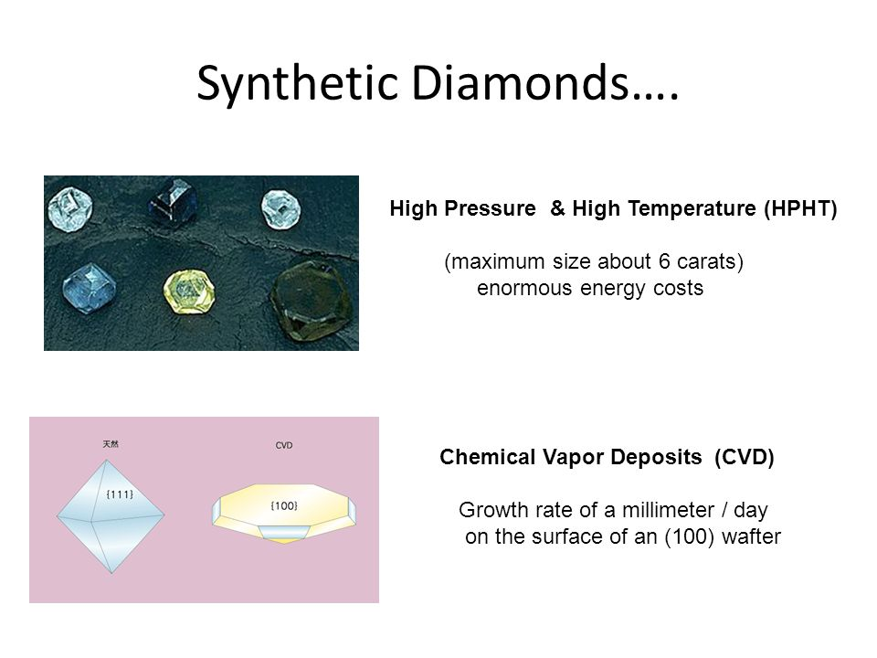Synthetic Diamonds…. High Pressure & High Temperature (HPHT) (maximum size about 6 carats) enormous energy costs Chemical Vapor Deposits (CVD) Growth