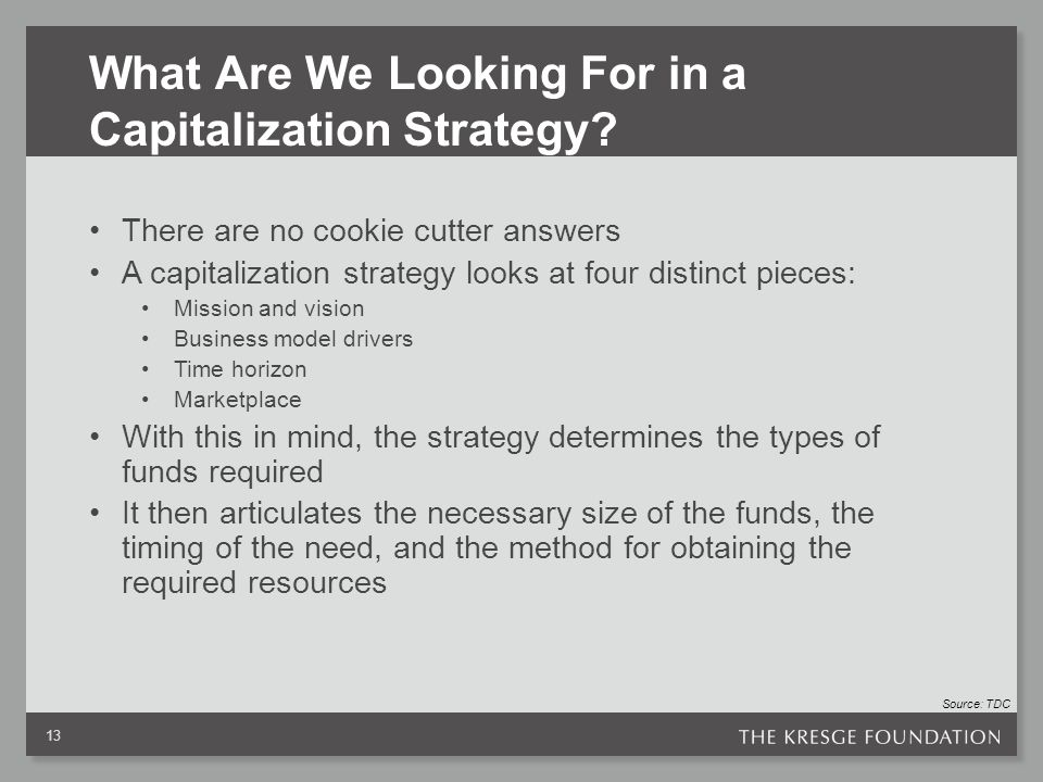 What Are We Looking For in a Capitalization Strategy.