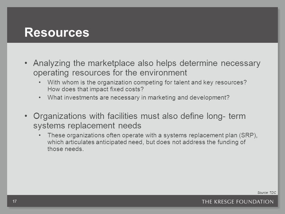 Resources Analyzing the marketplace also helps determine necessary operating resources for the environment With whom is the organization competing for talent and key resources.