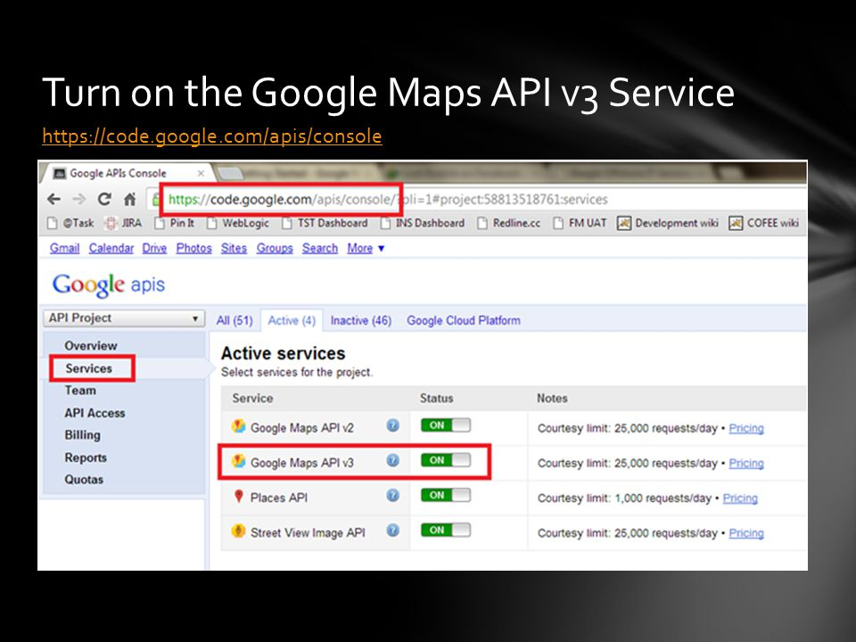 https://code.google.com/apis/console Turn on the Google Maps API v3 Service