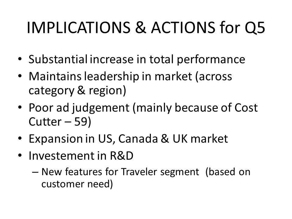 IMPLICATIONS & ACTIONS for Q5 Substantial increase in total performance Maintains leadership in market (across category & region) Poor ad judgement (mainly because of Cost Cutter – 59) Expansion in US, Canada & UK market Investement in R&D – New features for Traveler segment (based on customer need)