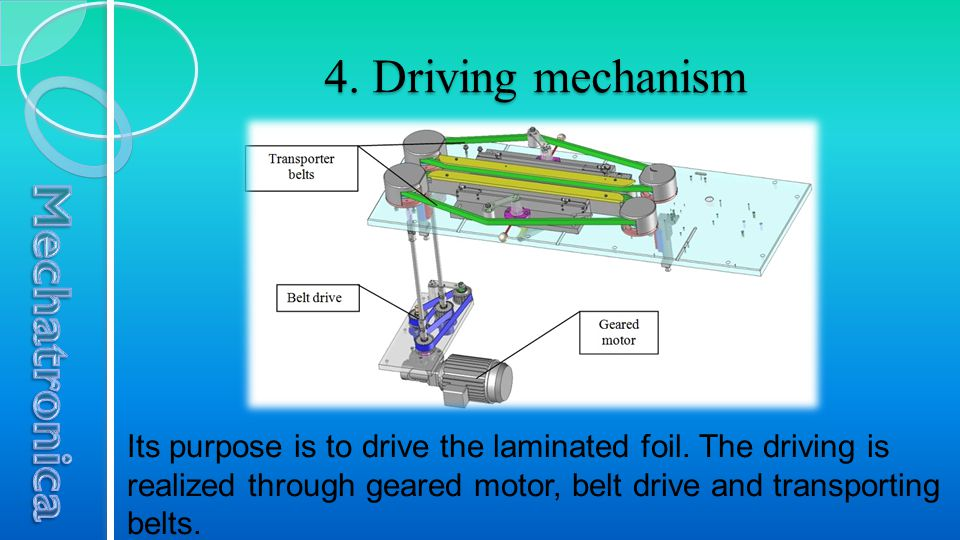 4. Driving mechanism Its purpose is to drive the laminated foil. The driving is realized through geared motor, belt drive and transporting belts.
