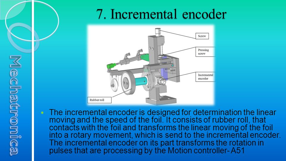 7. Incremental encoder The incremental encoder is designed for determination the linear moving and the speed of the foil. It consists of rubber roll,