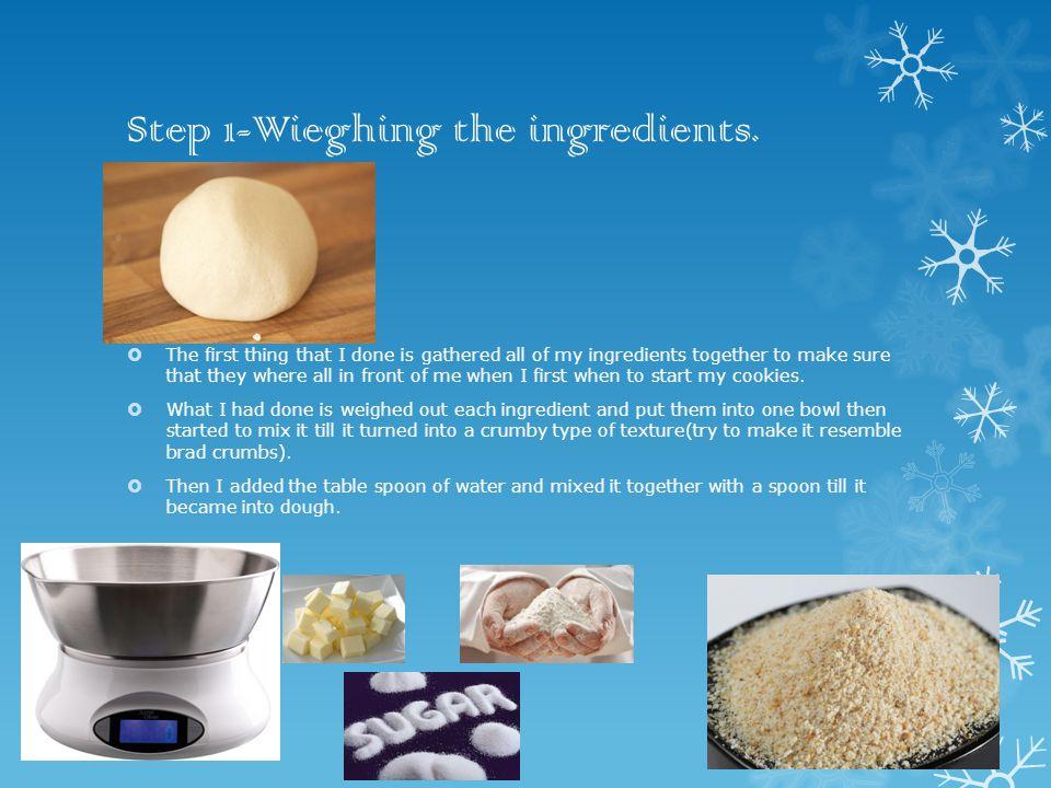 Step 1-Wieghing the ingredients.