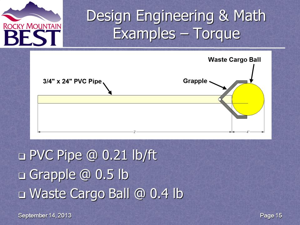 Design Engineering & Math Examples – Torque  PVC Pipe @ 0.21 lb/ft  Grapple @ 0.5 lb  Waste Cargo Ball @ 0.4 lb Page 15September 14, 2013