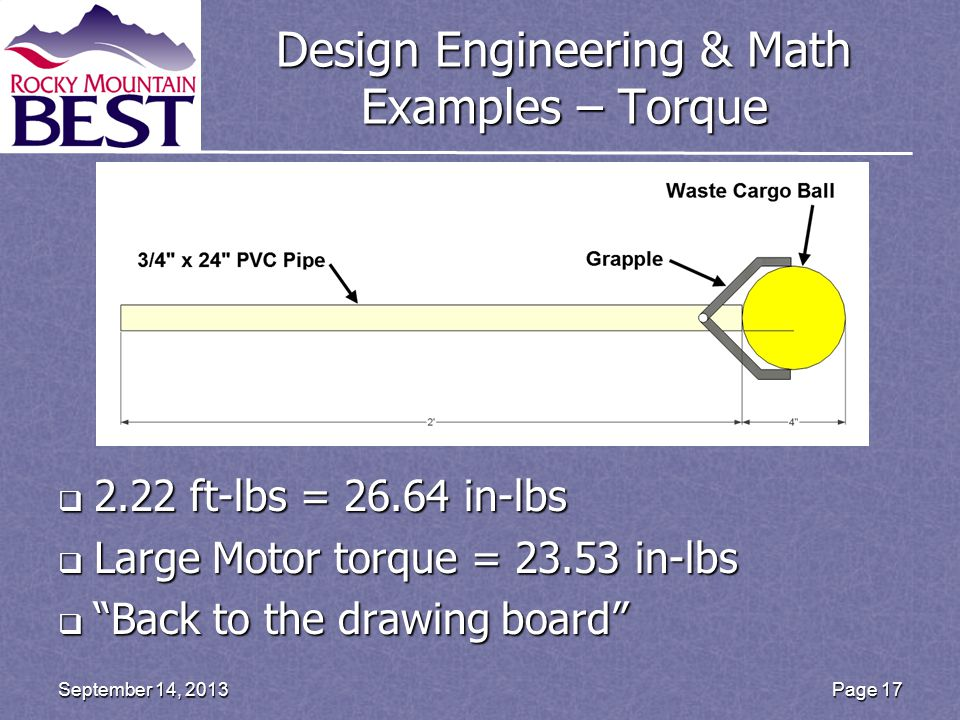 Design Engineering & Math Examples – Torque  2.22 ft-lbs = 26.64 in-lbs  Large Motor torque = 23.53 in-lbs  Back to the drawing board Page 17September 14, 2013