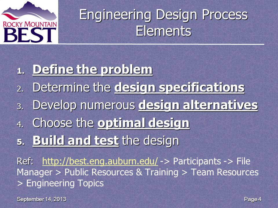 Engineering Design Process Elements 1. Define the problem 2.