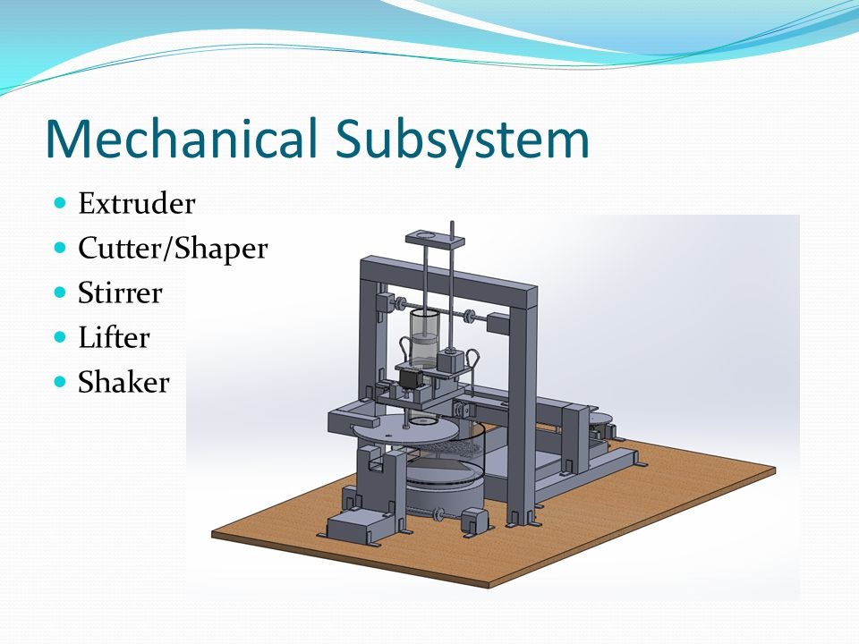 Mechanical Subsystem Extruder Cutter/Shaper Stirrer Lifter Shaker