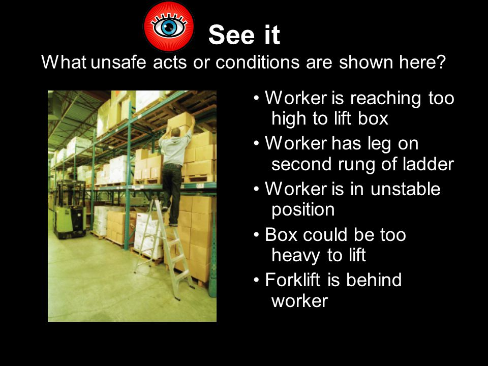 See it What unsafe acts or conditions are shown here.