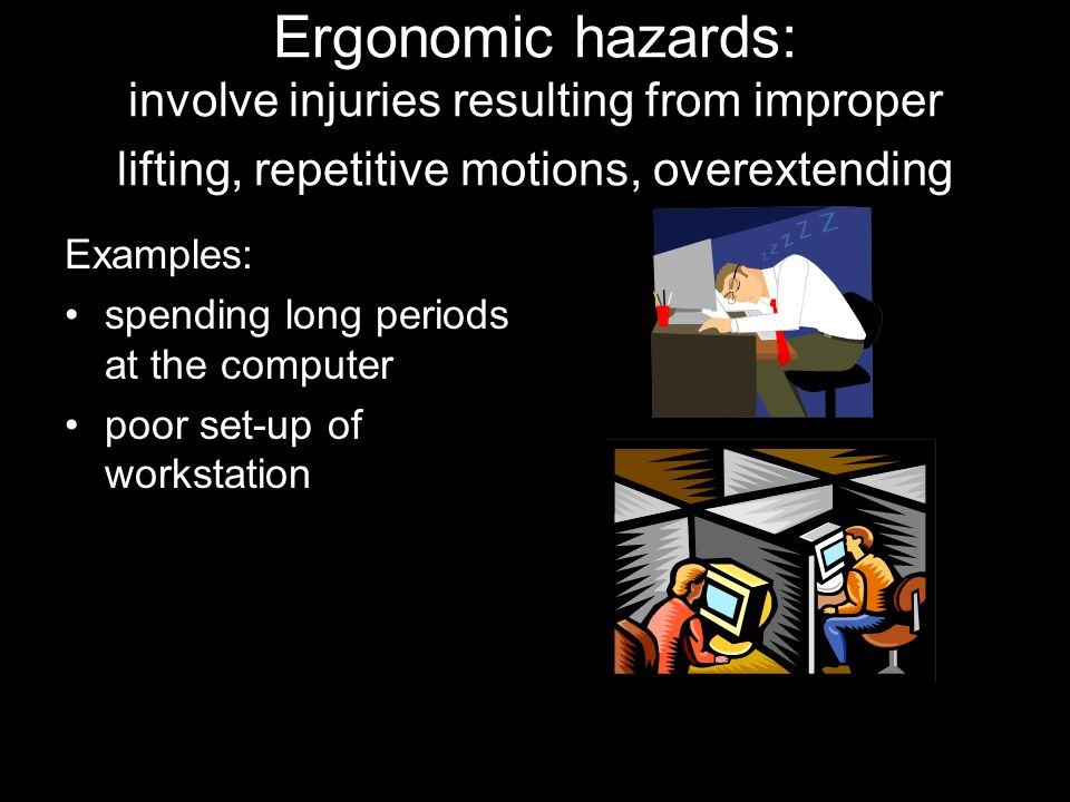 Ergonomic hazards: involve injuries resulting from improper lifting, repetitive motions, overextending Examples: spending long periods at the computer poor set-up of workstation