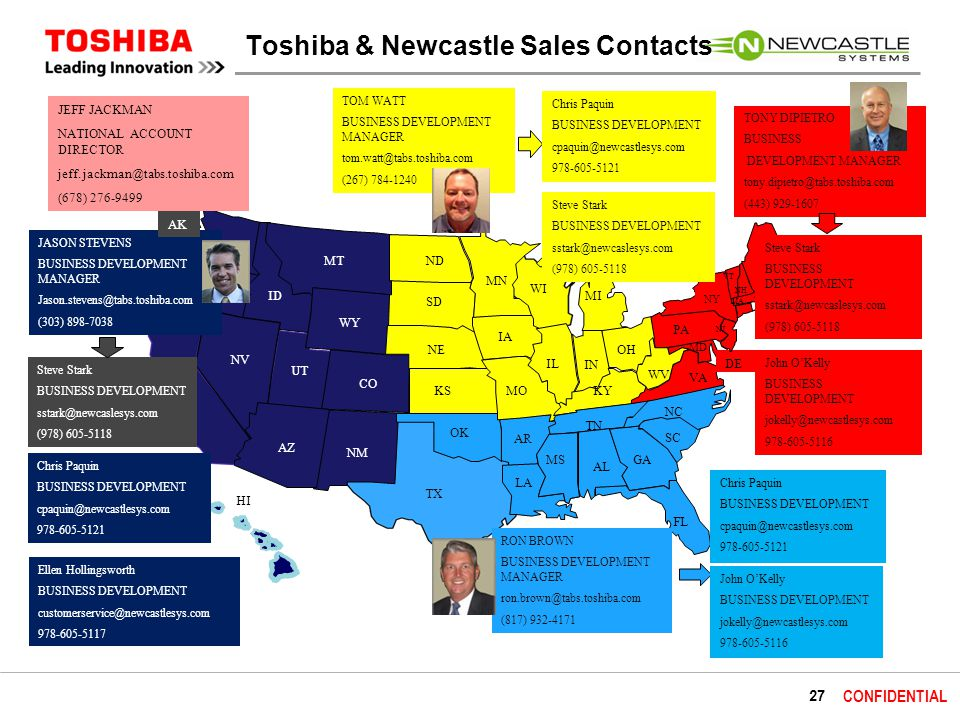 27 CONFIDENTIAL Toshiba & Newcastle Sales Contacts