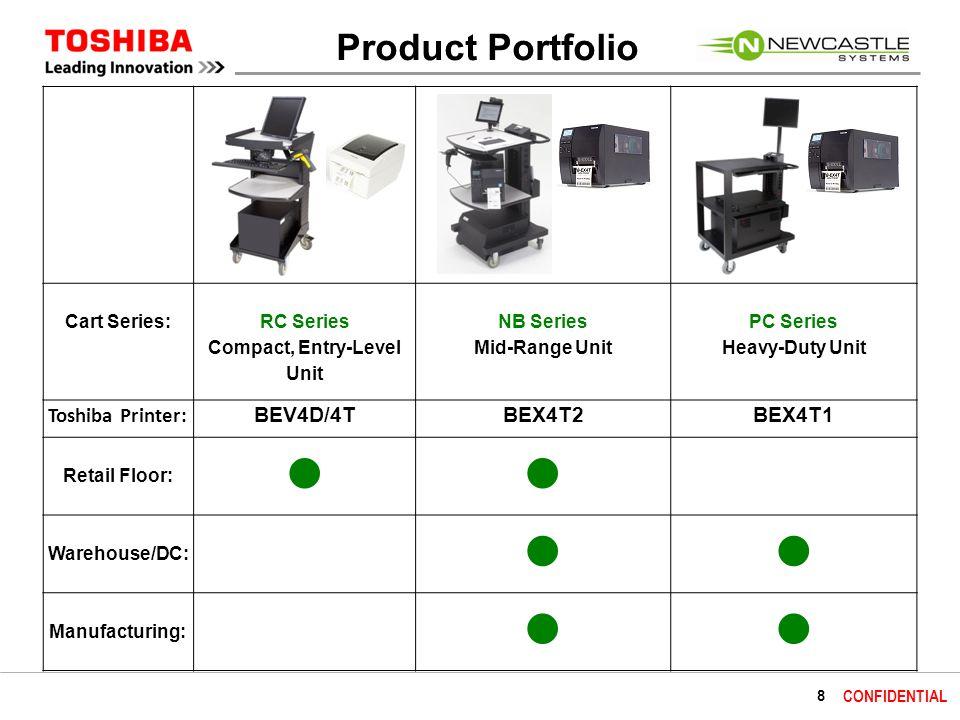 9 CONFIDENTIAL Product Portfolio Cart Series: RC Series Compact, Entry-Level Unit NB Series Mid-Range Unit PC Series Heavy-Duty Unit Footprint (WxLxH): 18.5 x 22 x 39 24 x 26 x 42 26 x 35.5 x 43 (30 shelf) 26 x 53.5 x 43 (48 shelf) Typical Hardware: Laptop/tablet, scanner, small printer (BEV4D/4T ) for 8 hours Laptop/tablet, scanner, high-volume printer (BEX4T2) for 8-24 hours PC/Monitor, scanner, high-volume printer (BEX4T1) for 8+ hours Battery: 40 & 100 AH40, 100, & 200 AH100, 200, & 300 AH Power Swap : NoYes (enables 24 hrs.