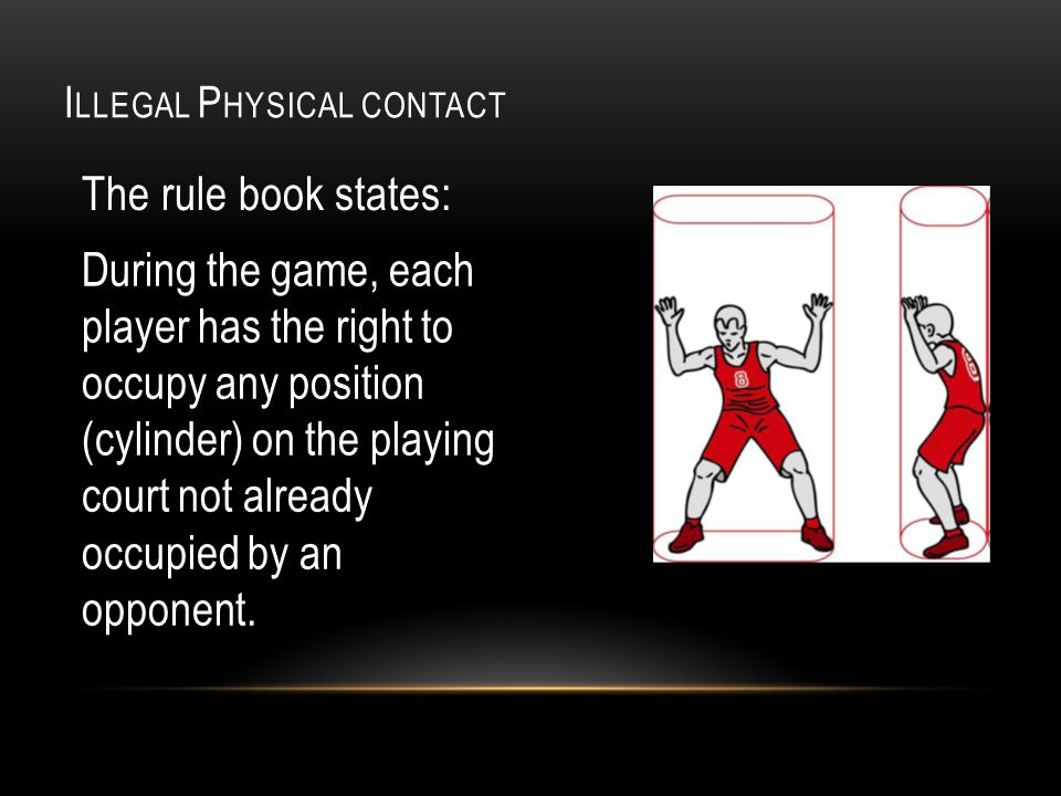 I LLEGAL P HYSICAL CONTACT The rule book states: During the game, each player has the right to occupy any position (cylinder) on the playing court not