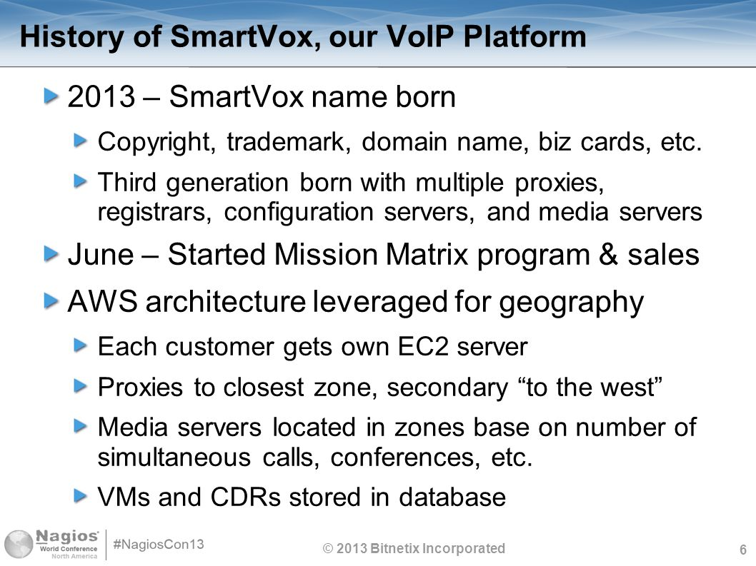 6 History of SmartVox, our VoIP Platform 2013 – SmartVox name born Copyright, trademark, domain name, biz cards, etc. Third generation born with multi