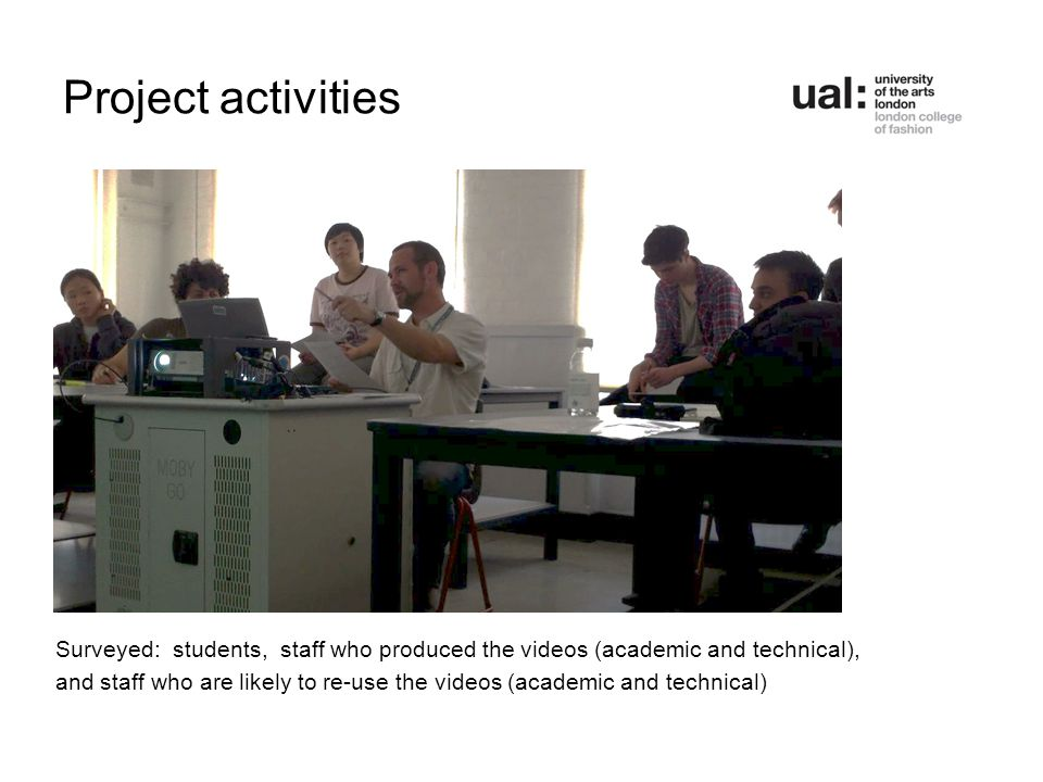 Project activities Surveyed: students, staff who produced the videos (academic and technical), and staff who are likely to re-use the videos (academic