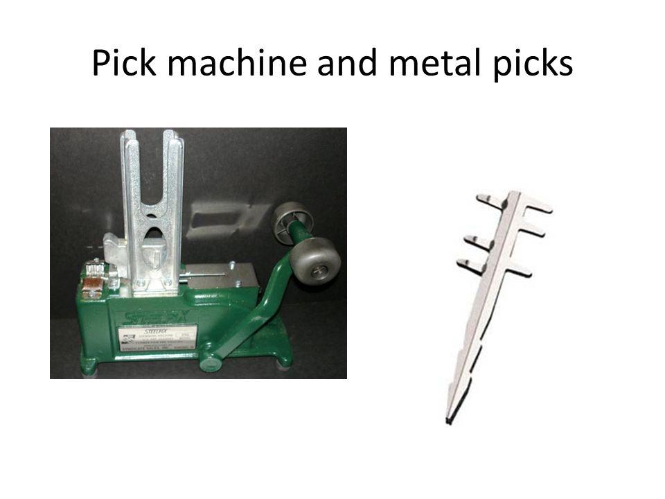 Pick machine and metal picks