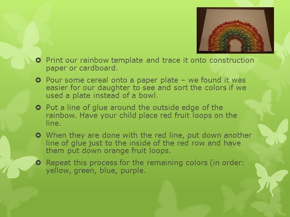  Print our rainbow template and trace it onto construction paper or cardboard.