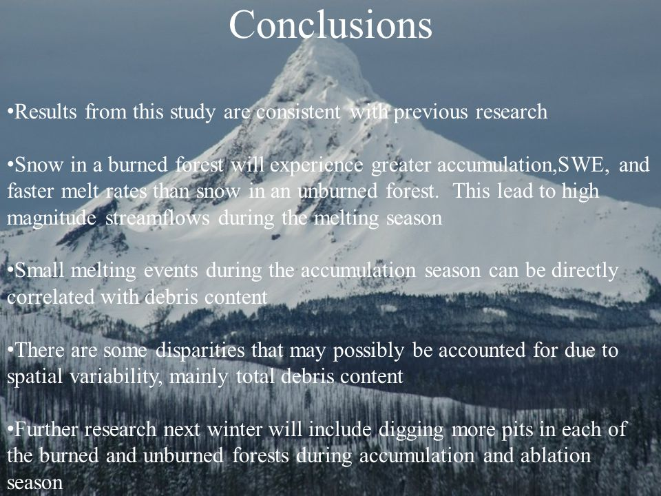 Conclusions Results from this study are consistent with previous research Snow in a burned forest will experience greater accumulation,SWE, and faster melt rates than snow in an unburned forest.