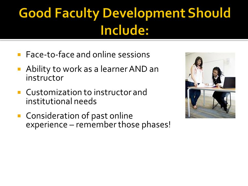  Face-to-face and online sessions  Ability to work as a learner AND an instructor  Customization to instructor and institutional needs  Consideration of past online experience – remember those phases!