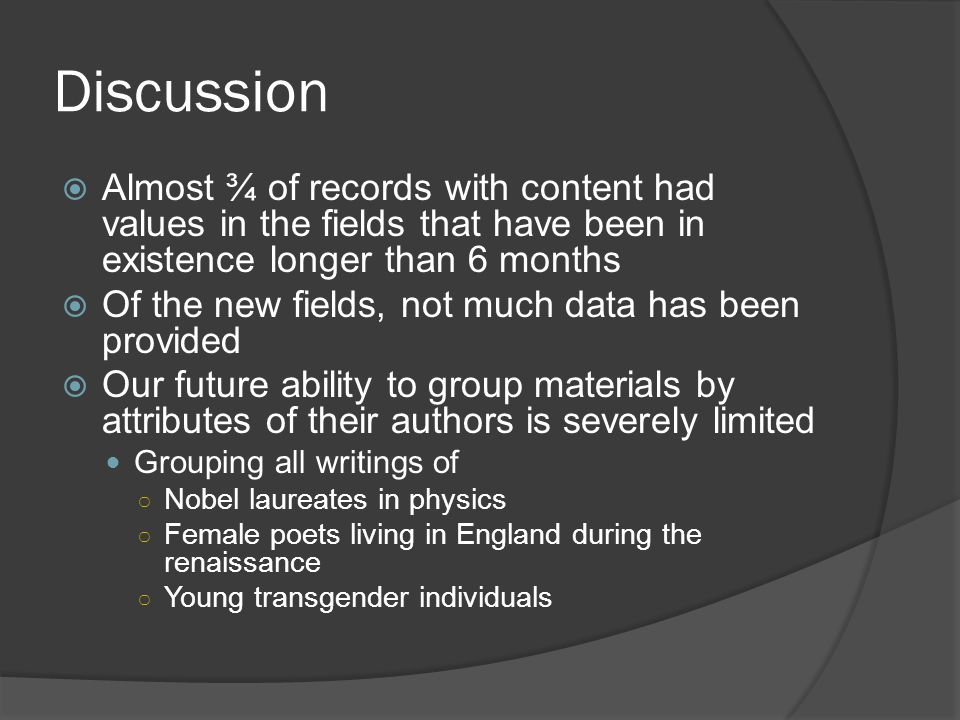 Discussion  Almost ¾ of records with content had values in the fields that have been in existence longer than 6 months  Of the new fields, not much data has been provided  Our future ability to group materials by attributes of their authors is severely limited Grouping all writings of ○ Nobel laureates in physics ○ Female poets living in England during the renaissance ○ Young transgender individuals