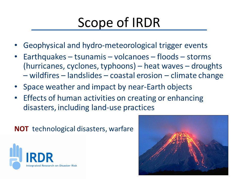 Forensic Disaster Investigations (FORIN) 15 Probe further into complex and underlying causes of growing disaster loss Fundamental cause of disasters Trace out and assign causal explanation of losses Intervening conditions that increased or reduce losses Series of case studies Common template and methodology