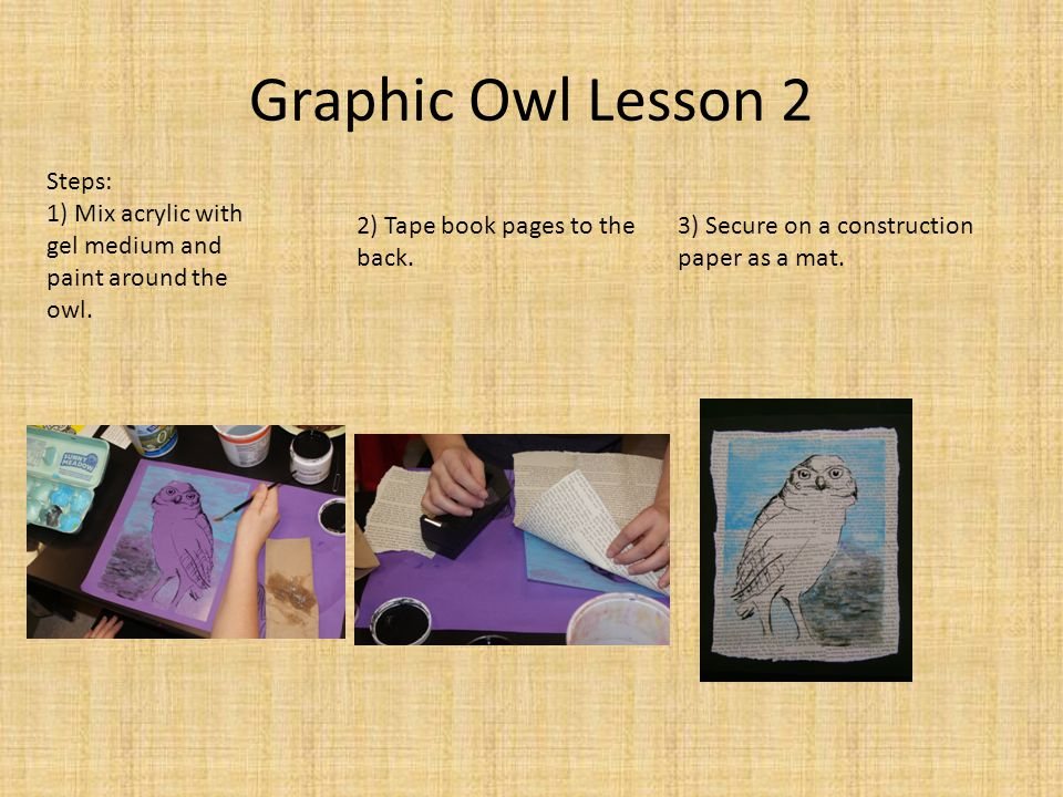 Graphic Owl Lesson 2 Steps: 1) Mix acrylic with gel medium and paint around the owl.