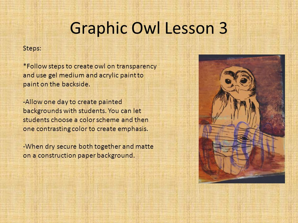 Graphic Owl Lesson 3 Steps: *Follow steps to create owl on transparency and use gel medium and acrylic paint to paint on the backside.