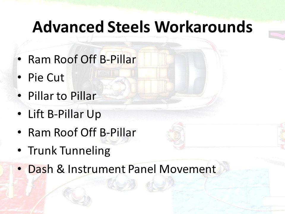 Advanced Steels Workarounds Ram Roof Off B-Pillar Pie Cut Pillar to Pillar Lift B-Pillar Up Ram Roof Off B-Pillar Trunk Tunneling Dash & Instrument Pa