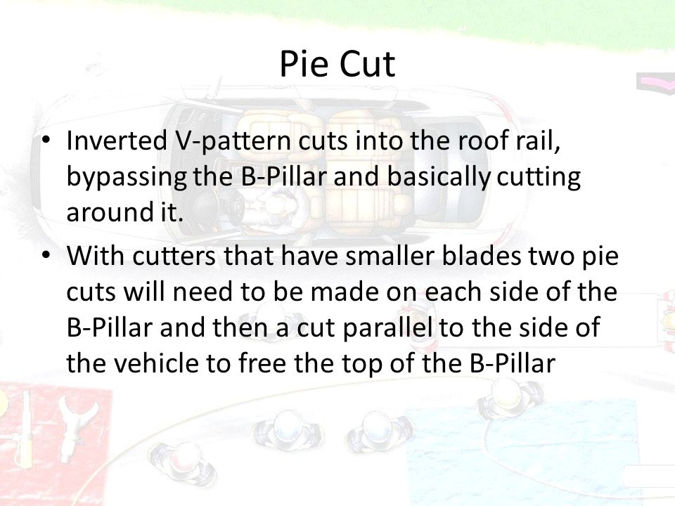 Pie Cut Inverted V-pattern cuts into the roof rail, bypassing the B-Pillar and basically cutting around it. With cutters that have smaller blades two