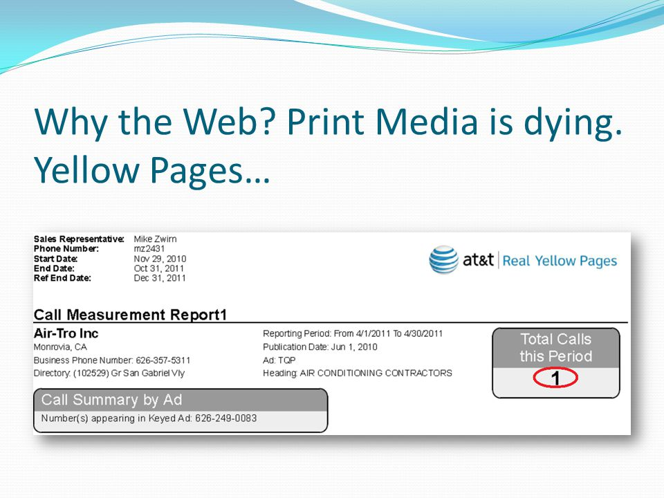 Why the Web? Print Media is dying. Yellow Pages…