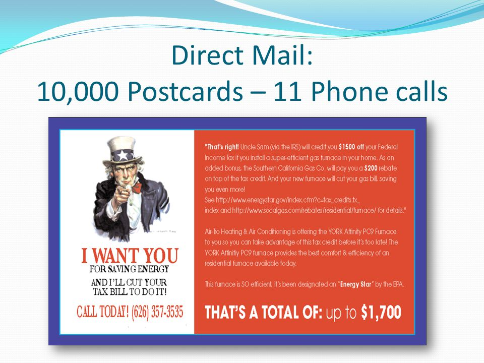 Direct Mail: 10,000 Postcards – 11 Phone calls