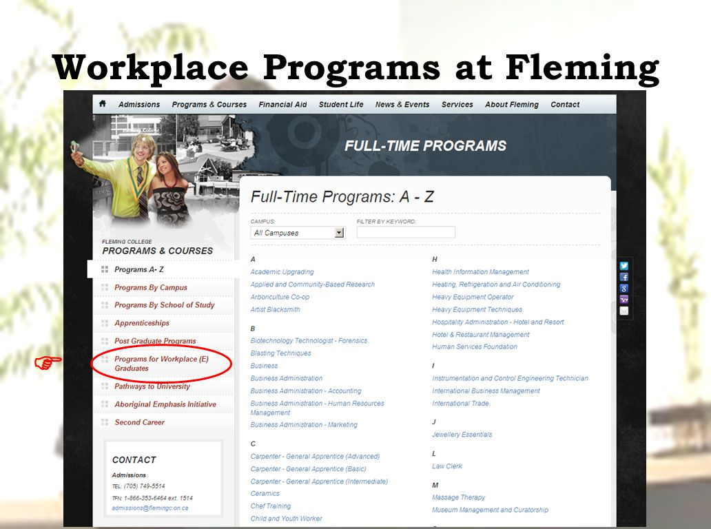 Workplace Programs at Fleming 