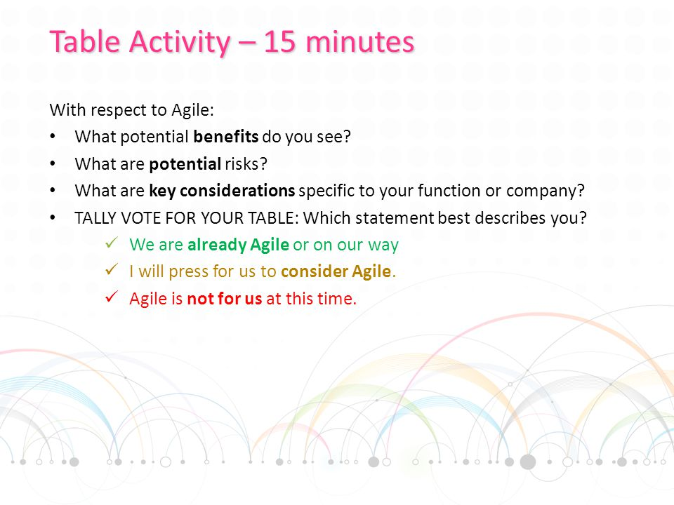 With respect to Agile: What potential benefits do you see.