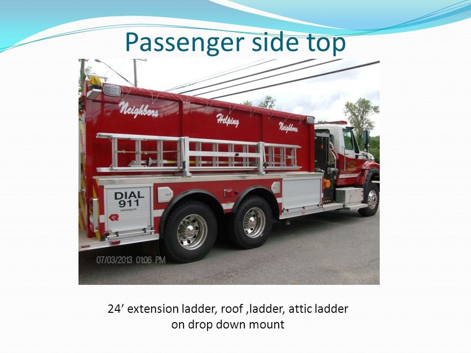 Passenger side top 24' extension ladder, roof,ladder, attic ladder on drop down mount