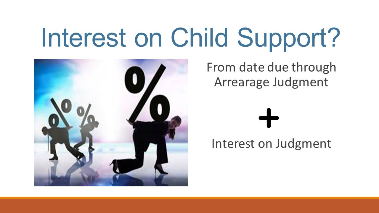 Interest on Child Support From date due through Arrearage Judgment Interest on Judgment