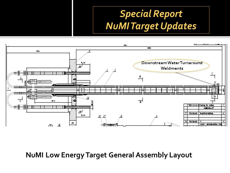 Special Report NuMI Target Updates Special Report NuMI Target Updates NuMI Low Energy Target General Assembly Layout Downstream Water Turnaround Weldm