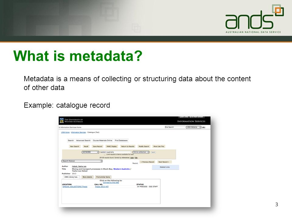 Metadata is data 'reporting' ▪ WHO created the data.