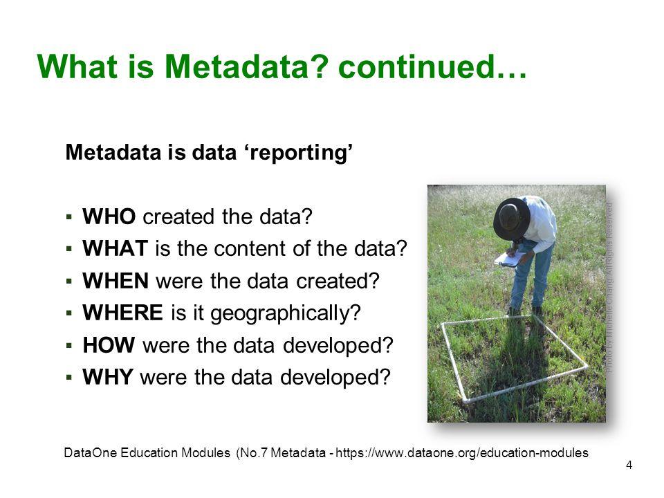 5 Basics of metadata https://www.youtube.com/watch?v=-0vc6LeVa14