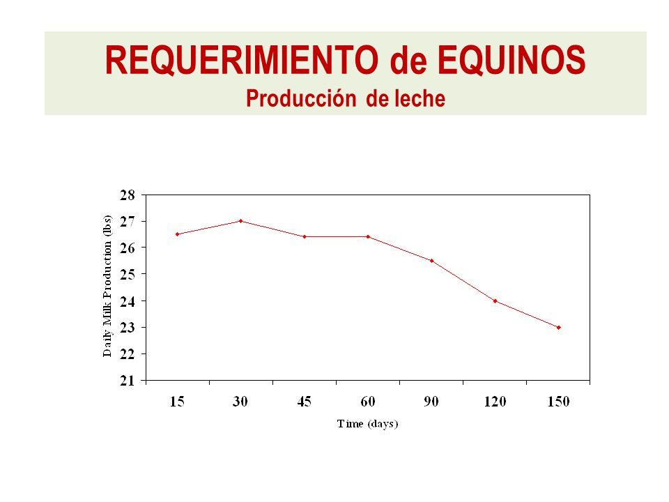 REQUERIMIENTO de EQUINOS Producción de leche