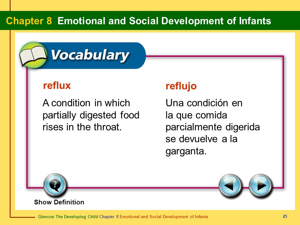 Glencoe The Developing Child Chapter 8 Emotional and Social Development of Infants Chapter 8 Emotional and Social Development of Infants 25 reflux ref