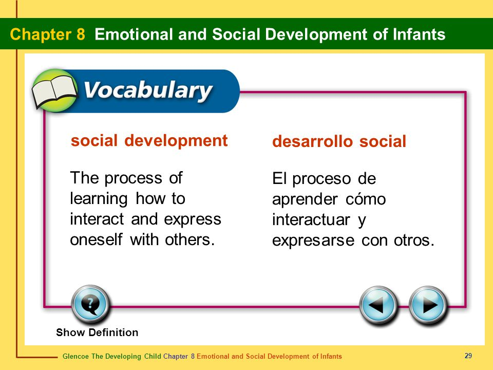 Glencoe The Developing Child Chapter 8 Emotional and Social Development of Infants Chapter 8 Emotional and Social Development of Infants 29 social dev
