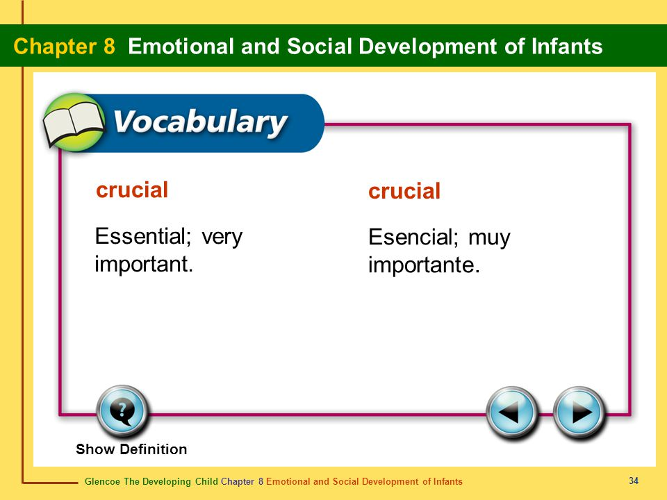 Glencoe The Developing Child Chapter 8 Emotional and Social Development of Infants Chapter 8 Emotional and Social Development of Infants 34 crucial Es