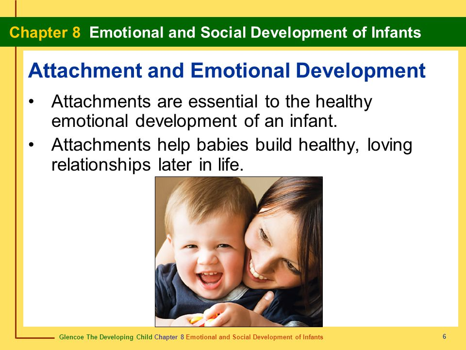 Glencoe The Developing Child Chapter 8 Emotional and Social Development of Infants Chapter 8 Emotional and Social Development of Infants 6 Attachment