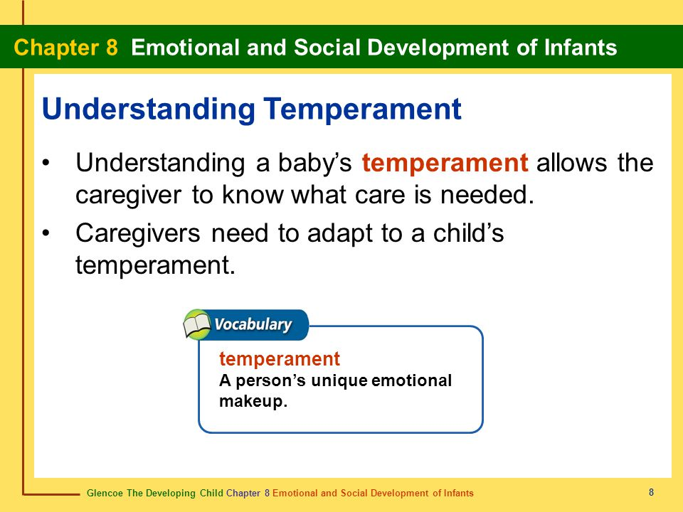Glencoe The Developing Child Chapter 8 Emotional and Social Development of Infants Chapter 8 Emotional and Social Development of Infants 8 Understandi