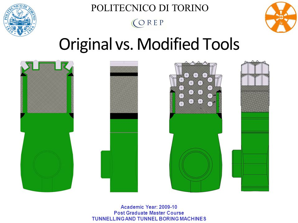 Academic Year: 2009-10 Post Graduate Master Course TUNNELLING AND TUNNEL BORING MACHINES POLITECNICO DI TORINO Original vs. Modified Tools