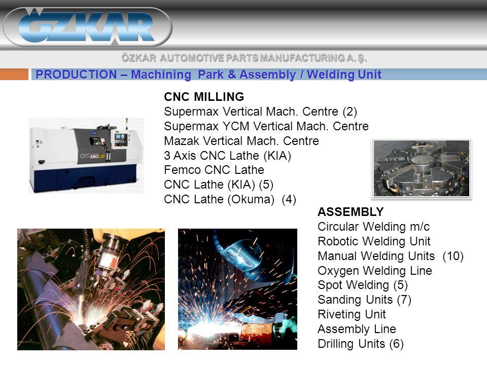 PRODUCTION – Machining Park & Assembly / Welding Unit ÖZKAR AUTOMOTIVE PARTS MANUFACTURING A.
