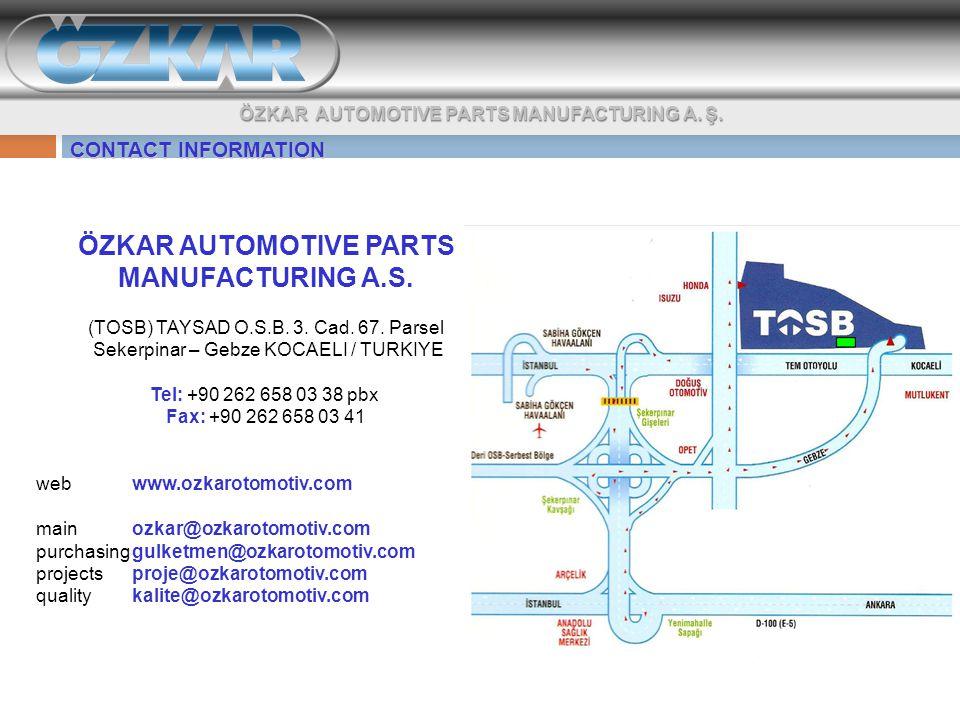 CONTACT INFORMATION ÖZKAR AUTOMOTIVE PARTS MANUFACTURING A.S.