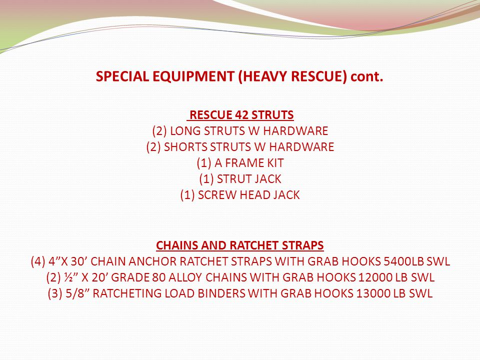 RESCUE 42 STRUTS (2) LONG STRUTS W HARDWARE (2) SHORTS STRUTS W HARDWARE (1) A FRAME KIT (1) STRUT JACK (1) SCREW HEAD JACK SPECIAL EQUIPMENT (HEAVY R