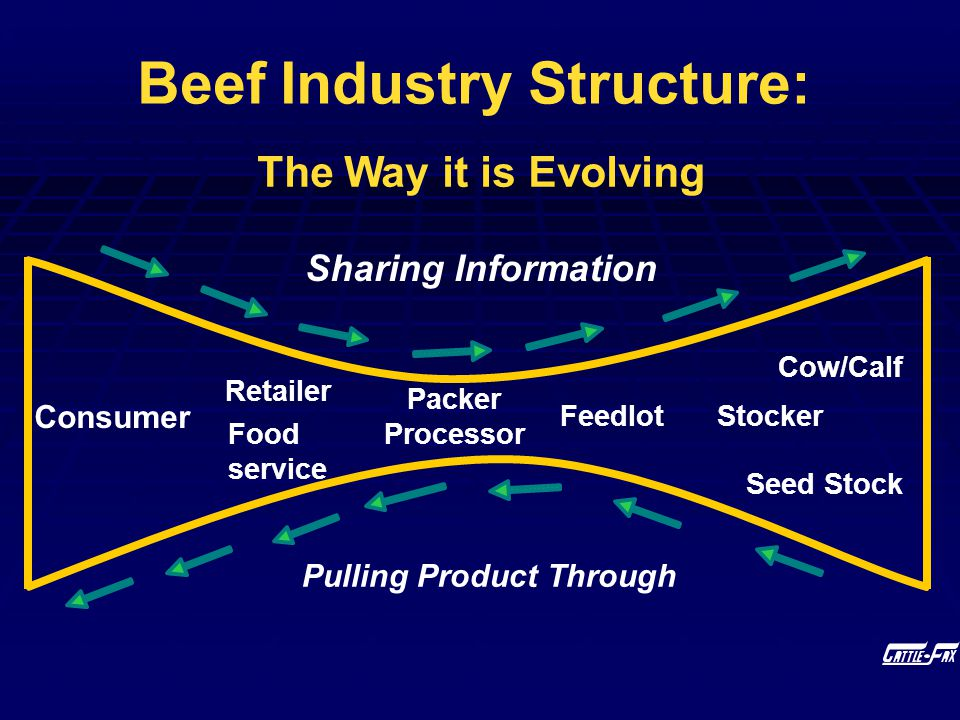 Pulling Product Through Sharing Information Beef Industry Structure: The Way it is Evolving Seed Stock Cow/Calf StockerFeedlot Packer Processor Retail